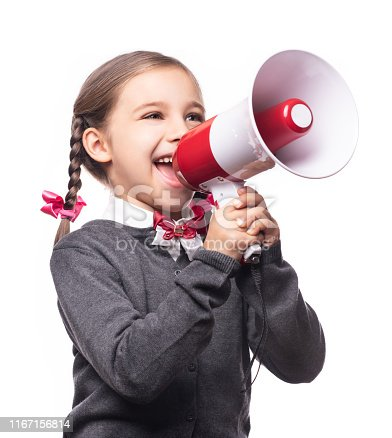 991060890 istock photo Child Girl Student Shouting Through Megaphone Isolated on White Background. Back to School Concept. 1167156814