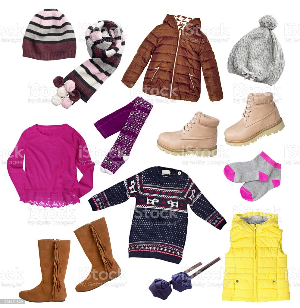 Child girl winter autumn clothes set isolated. stock photo