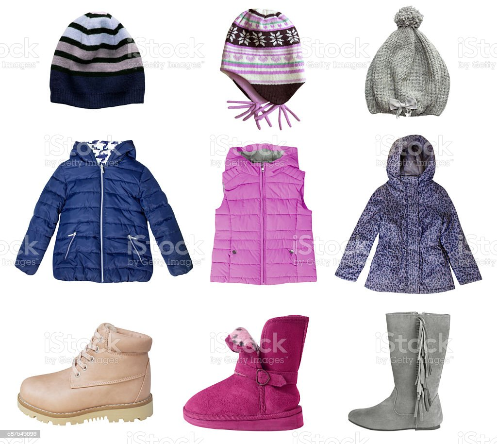Child girl winter clothes collage set isolated on white. stock photo
