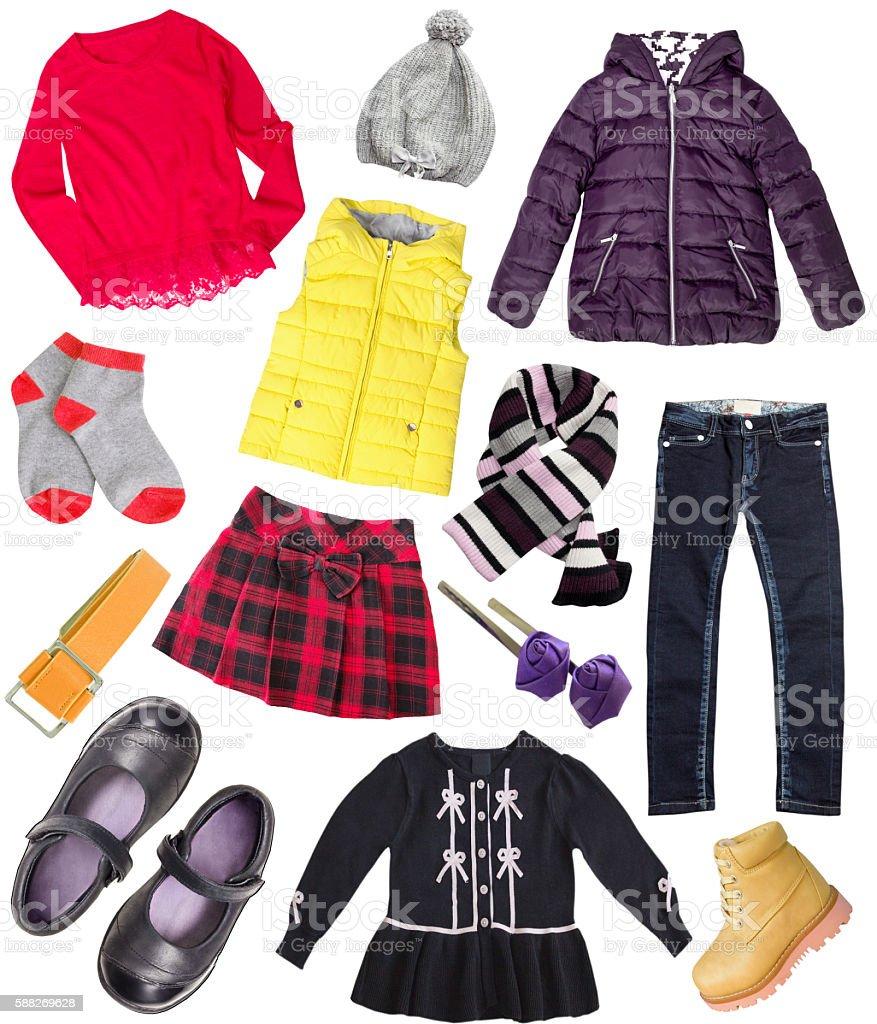 Child girl's fashion sleeve set collage isolated. stock photo