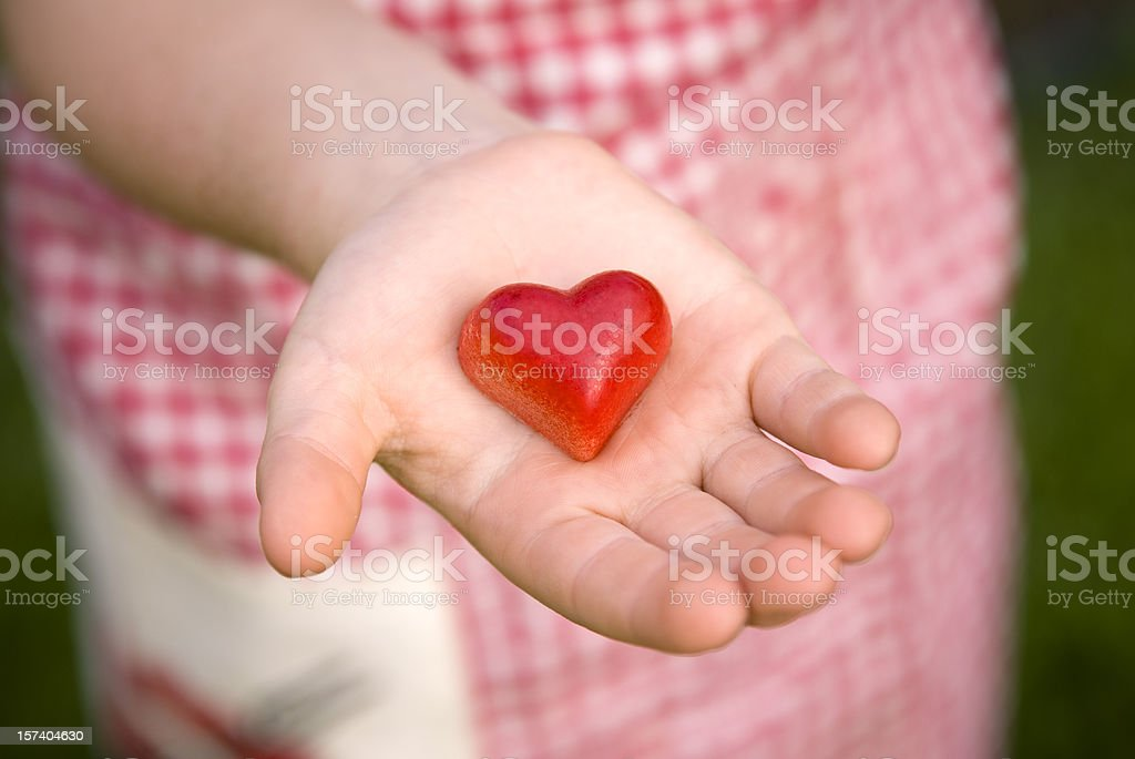 Child Giving Heart Valentine's Day Food, Hand Holding Chocolate Candy stock photo