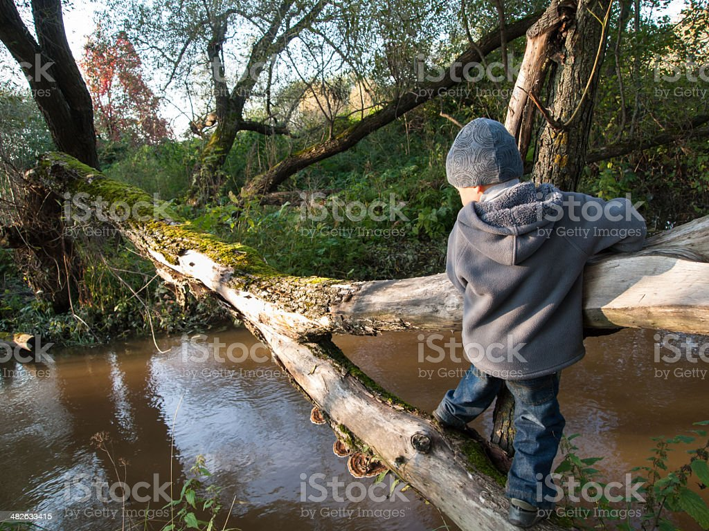 Child goes on a log stock photo
