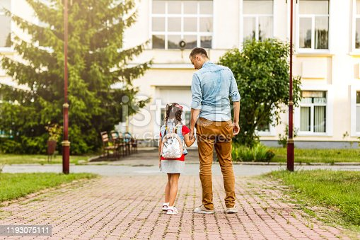 834369132 istock photo Child going back to school. Start of new school year after summer vacation. Little girl with backpack and books on first school day. Beginning of class. Education for kindergarten and preschool kids. 1193075111