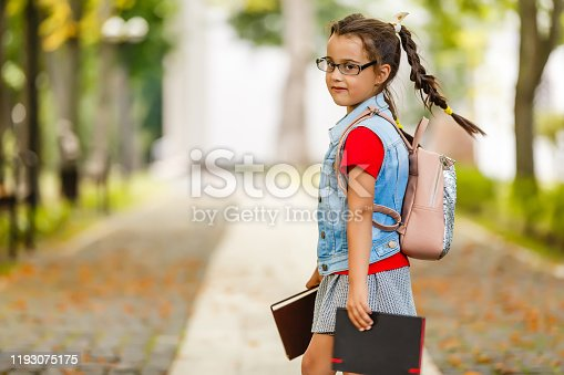 834369132 istock photo Child going back to school. Start of new school year after summer vacation. Little girl with backpack and books on first school day. Beginning of class. Education for kindergarten and preschool kids. 1193075175