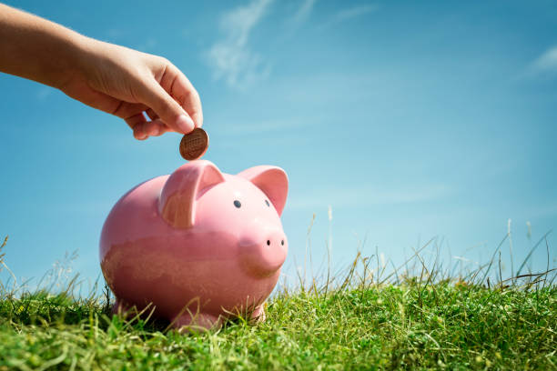 child hand saving money in piggy bank - piggy bank stock photos and pictures