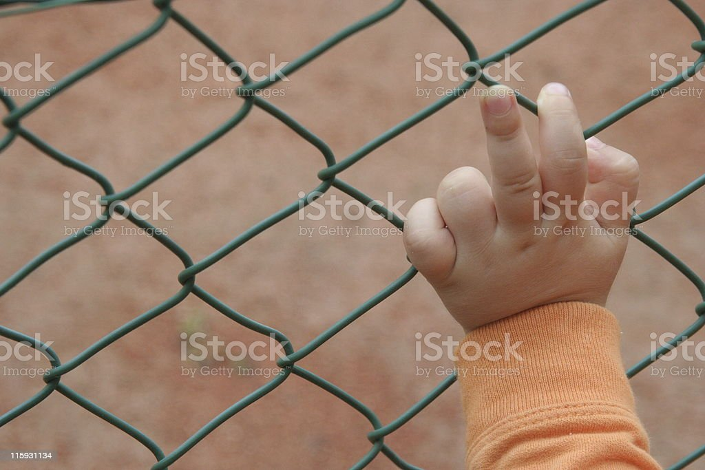 Child hand saying two royalty-free stock photo