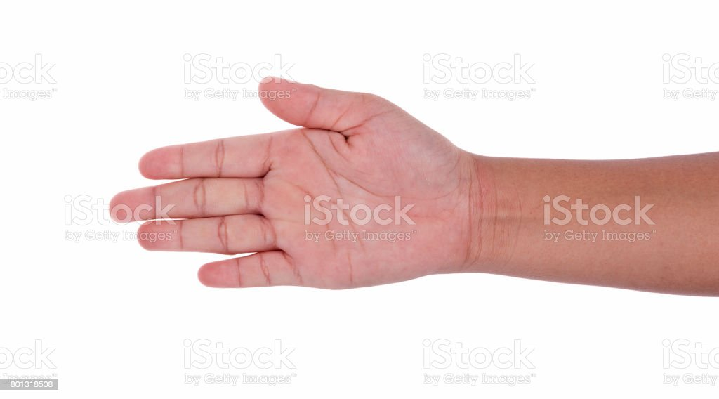 child hand sign isolated on white background stock photo