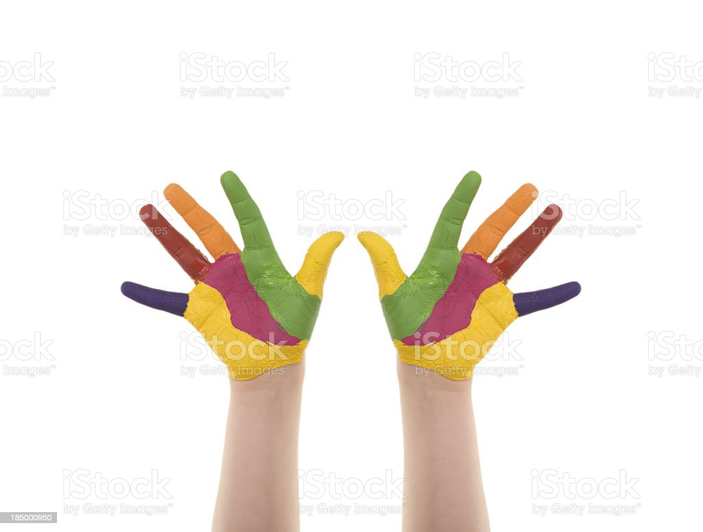 Child hands painted in colorful paints royalty-free stock photo