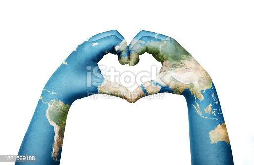 Close up of child hands, painted in the world map, formig heart shape isolated on white background. Element of this image furnished by NASA ( https://earthobservatory.nasa.gov/blogs/elegantfigures/2011/10/06/crafting-the-blue-marble/ )