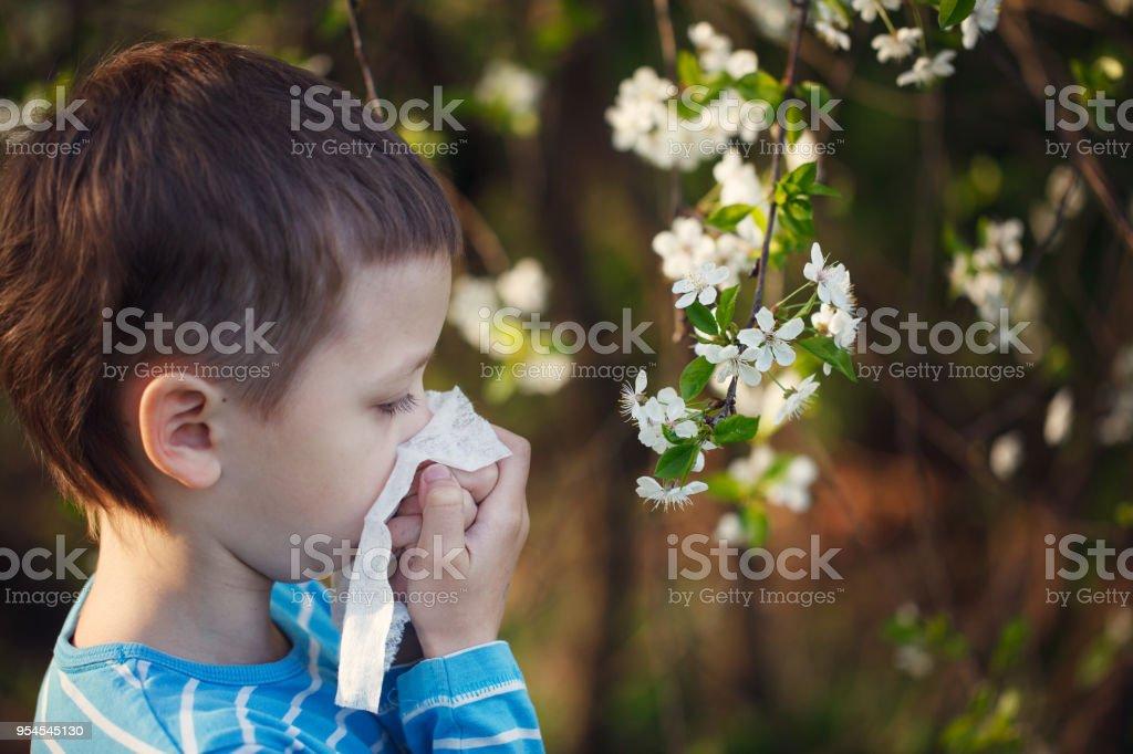 Child having allergy. Boy sitting outdoor with tissue in park near...