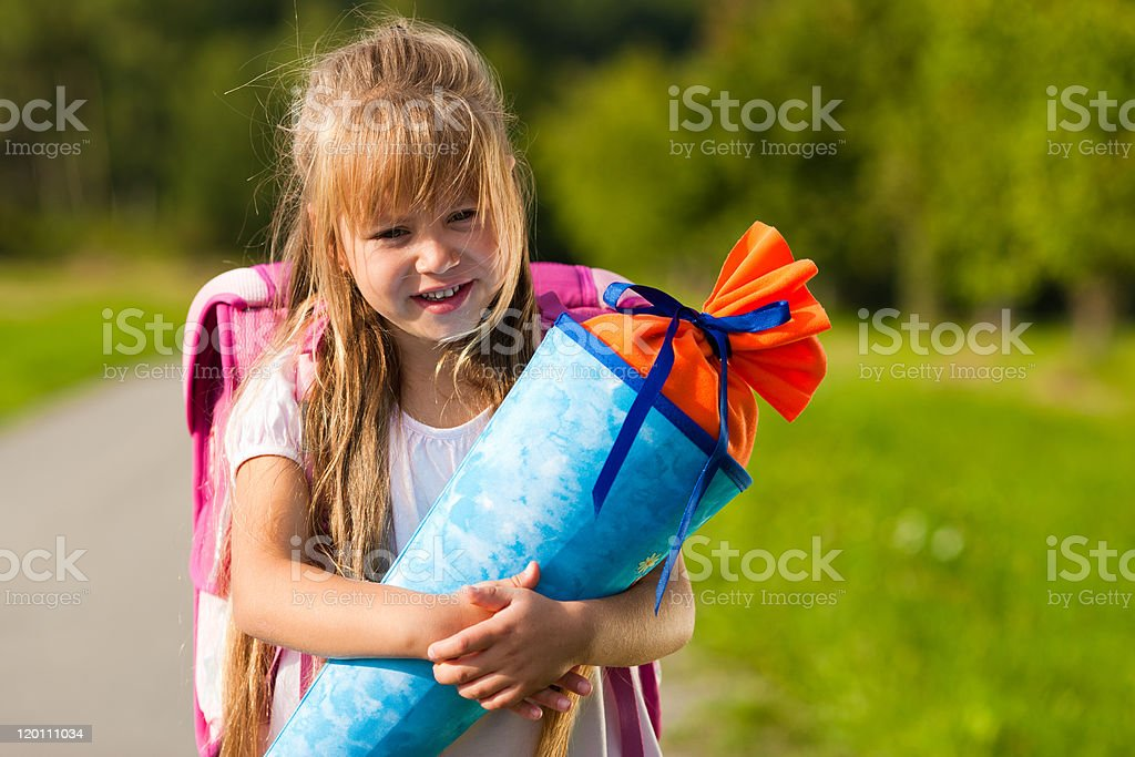 Child having first day at school stock photo