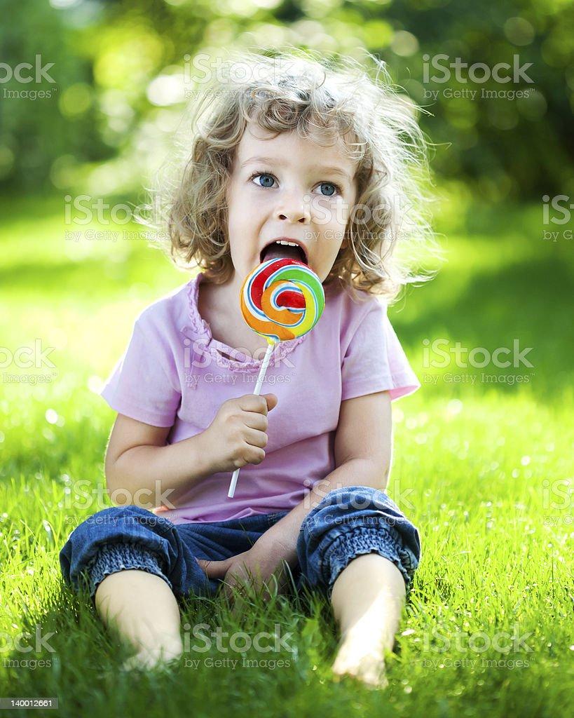 Child having picnic royalty-free stock photo