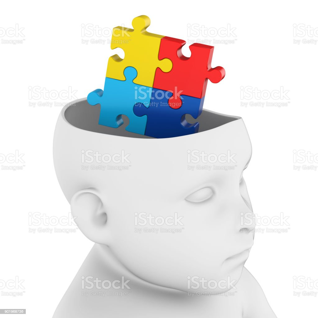 Child Head With Jigsaw Puzzle Brain Stock Photo & More Pictures of ...