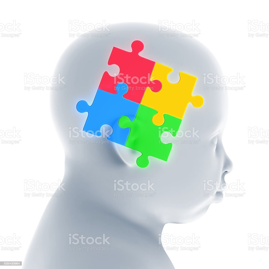 Child Head with Jigsaw Puzzle stock photo