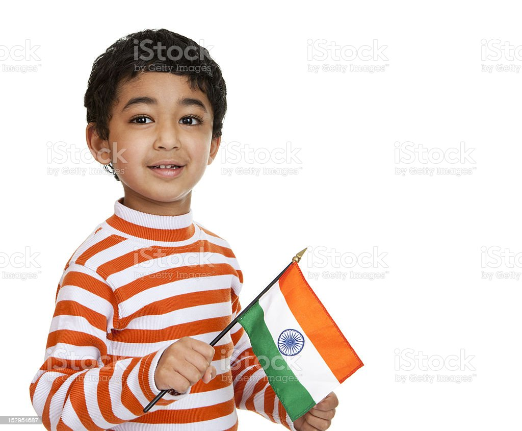 Child Holding a Flag of India stock photo