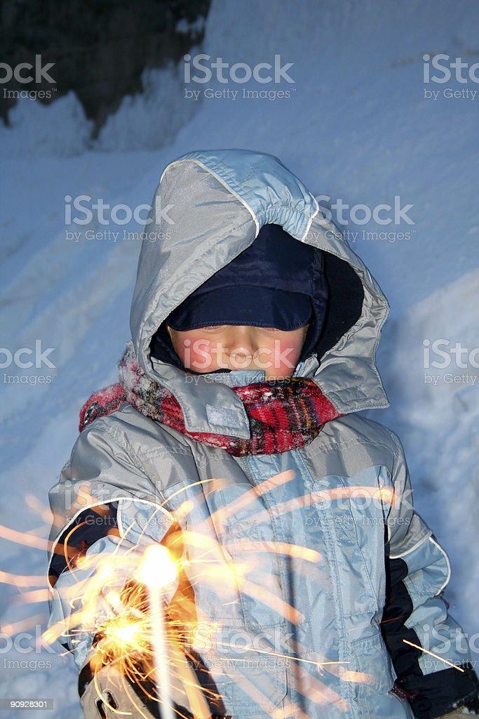 Child Holding a Sparkler royalty-free stock photo