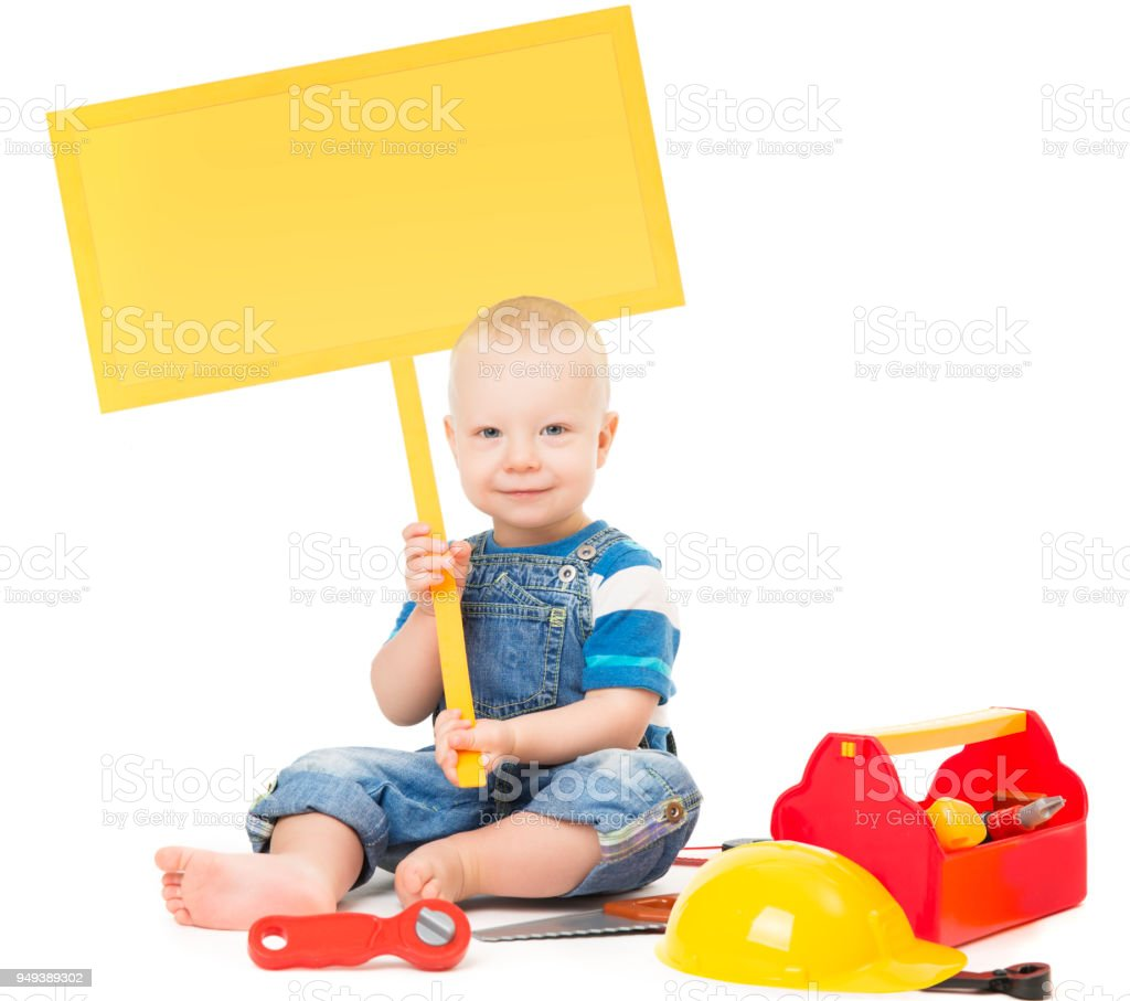 Child Holding Banner Sign Baby Boy Playing Toys Tools Kid Sitting