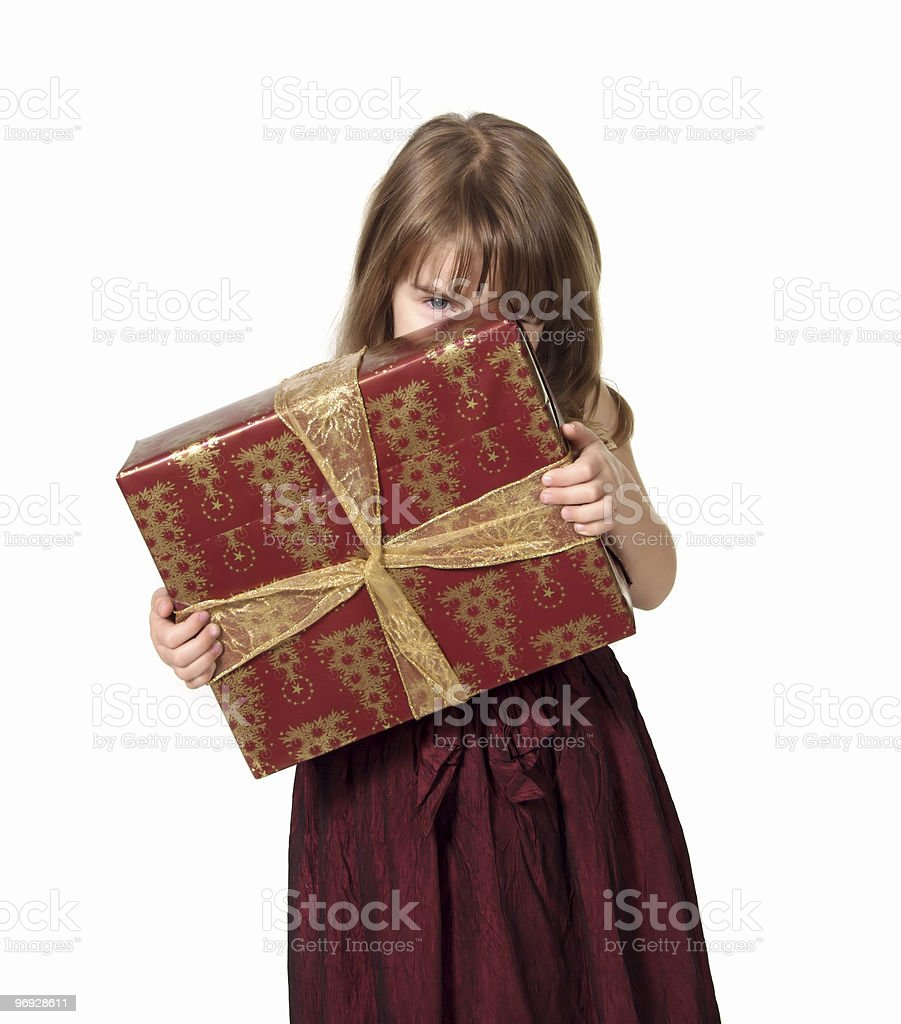 Child Holding Christmas Present royalty-free stock photo