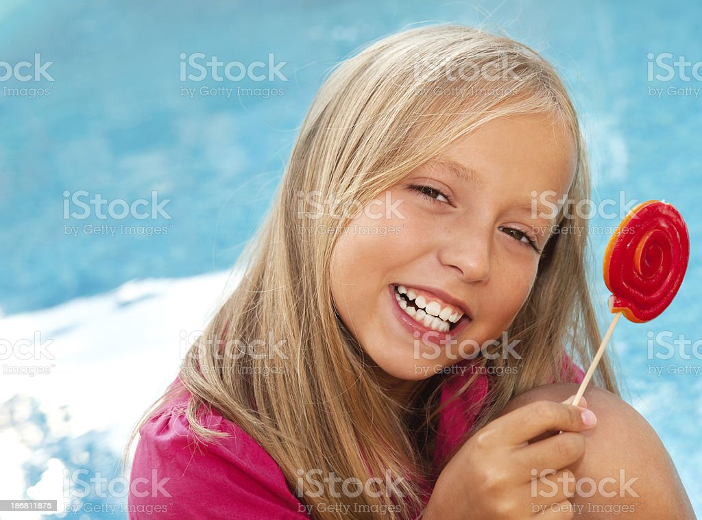 Child Holding Lollipop royalty-free stock photo