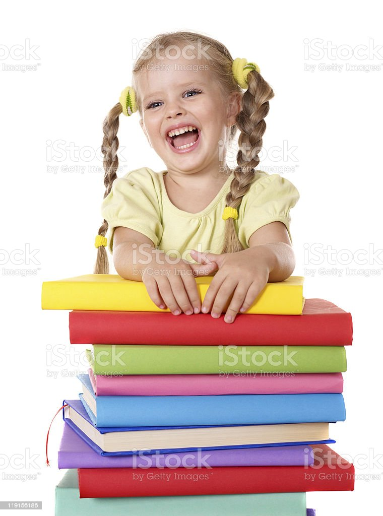 Child holding pile of books. royalty-free stock photo