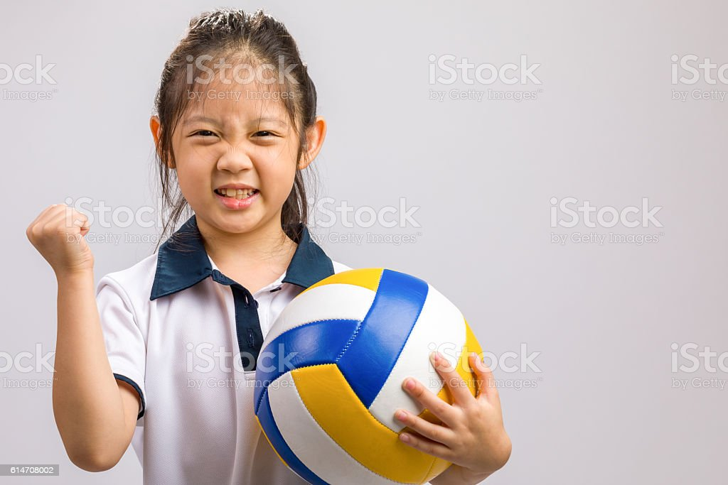 Child Holding Volleyball, Isolated on White - Photo