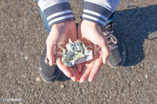 istock A child holds coins and euro notes in his hands. Pocket money image. 1124554855