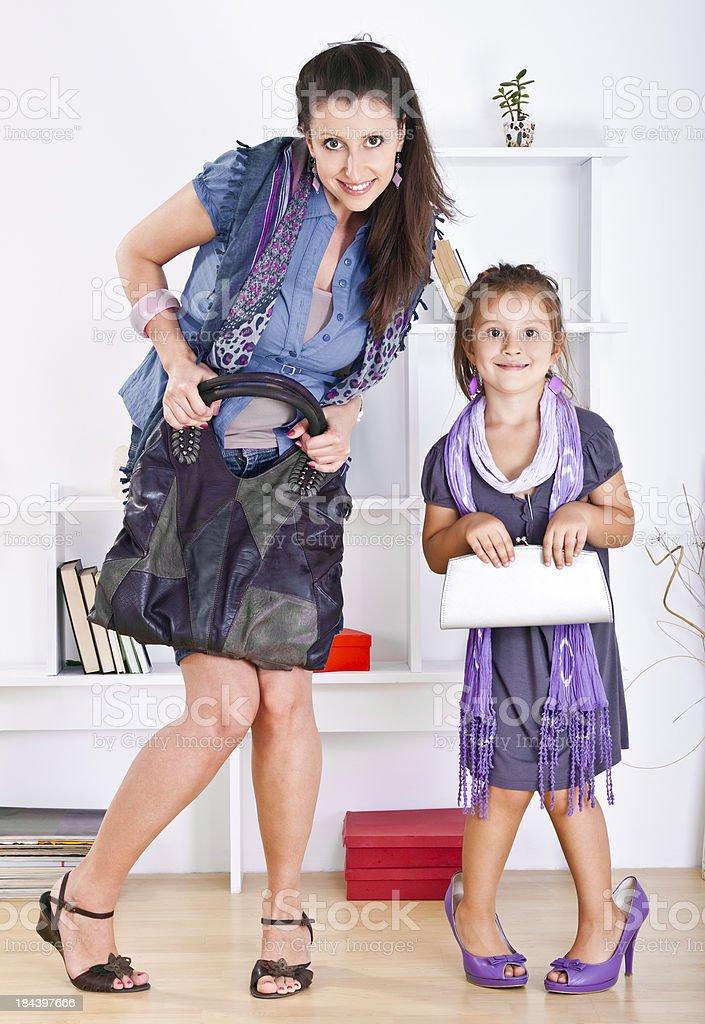 Child imitate mother royalty-free stock photo