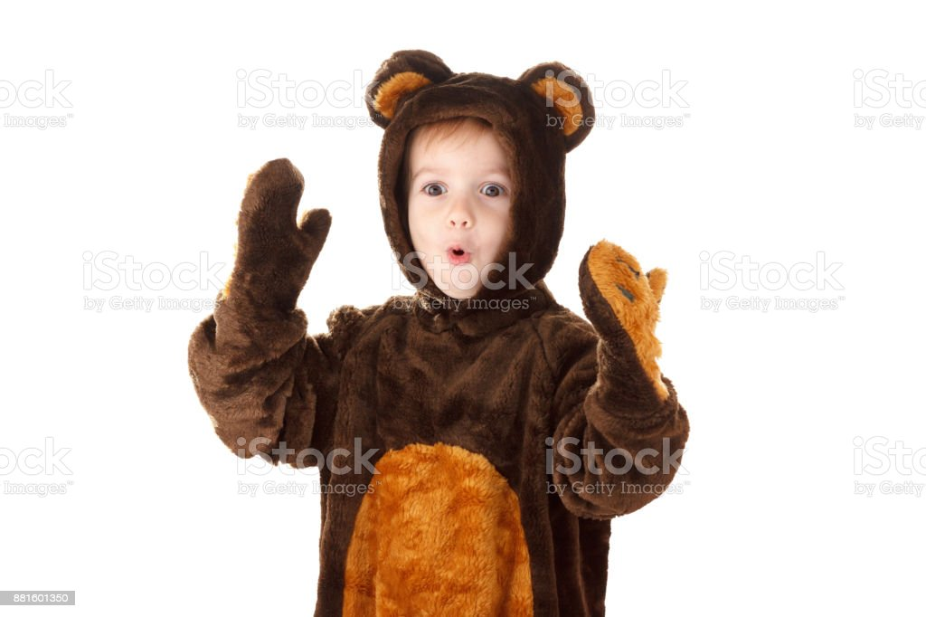 Child in a christmas carnival bear costume isolated on white stock photo