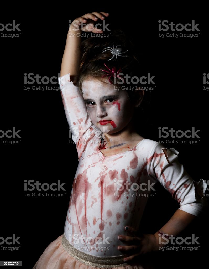Child in ballerina Halloween costume stock photo