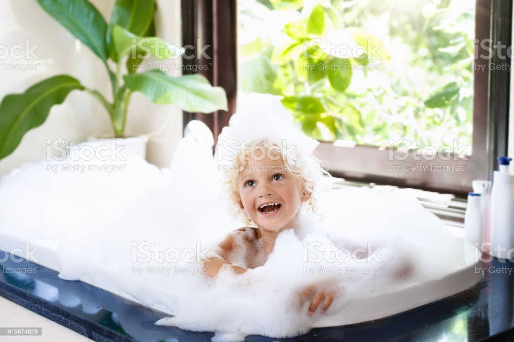 Child In Bubble Bath Kid Bathing Baby In Shower Stock Photo & More ...