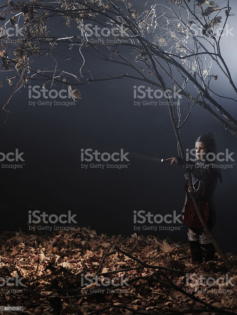 Child in costume in dark forest scene. royalty-free stock photo