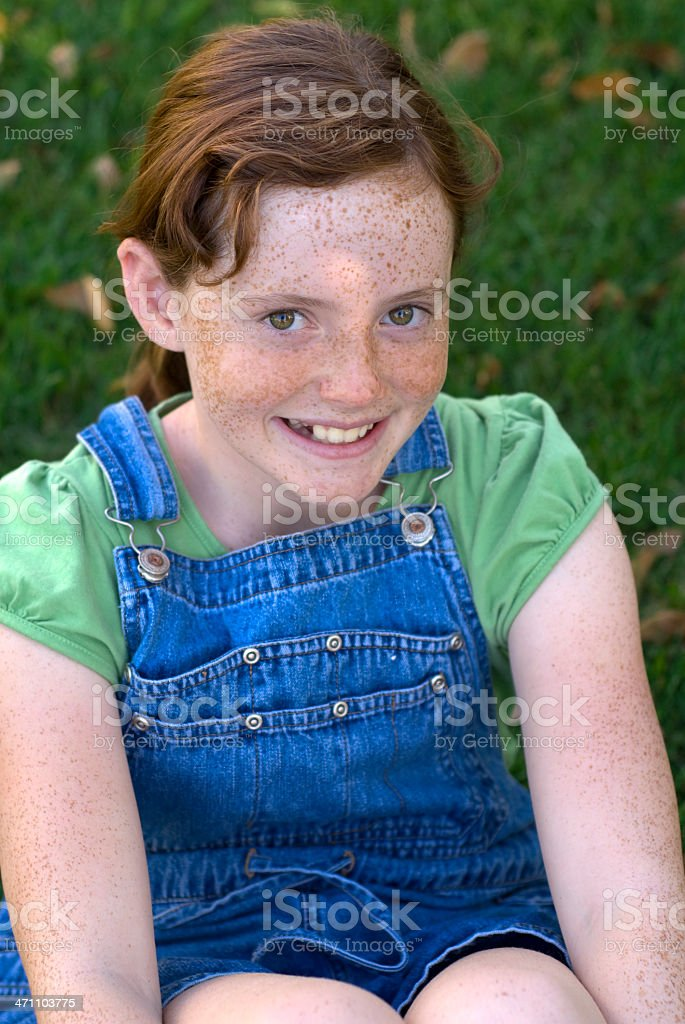 Child In Coveralls Redhead And Freckles Girl Happy Smiling Outdoors Stock Photo -2379