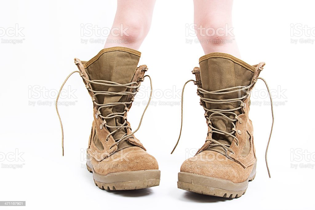Child in Military Boots royalty-free stock photo