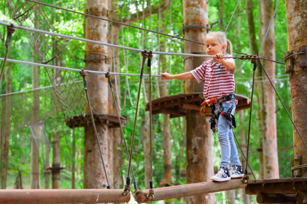 kind in sicherheitsgurt pass hindernis im abenteuerpark seil - baumwipfelpfad stock-fotos und bilder