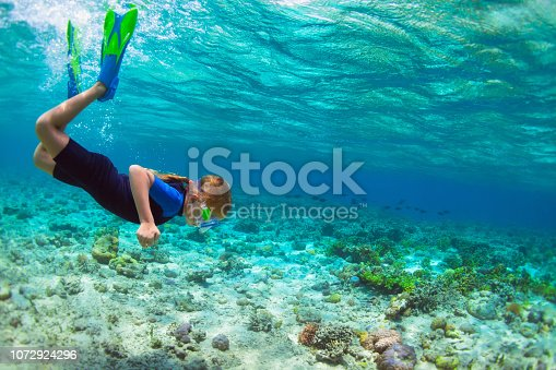 831127716 istock photo Child in snorkeling mask dive underwater in blue sea lagoon 1072924296
