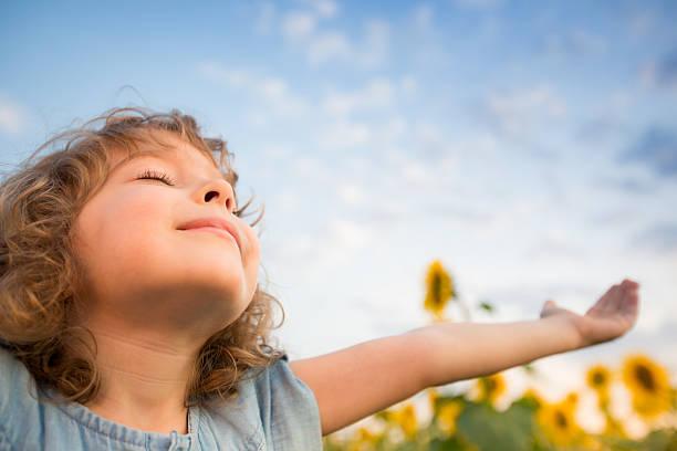 child in spring - summer smell bildbanksfoton och bilder