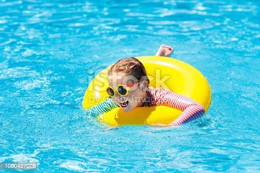 1080429798istockphoto Child in swimming pool. Kids swim. Water play. 1080427028