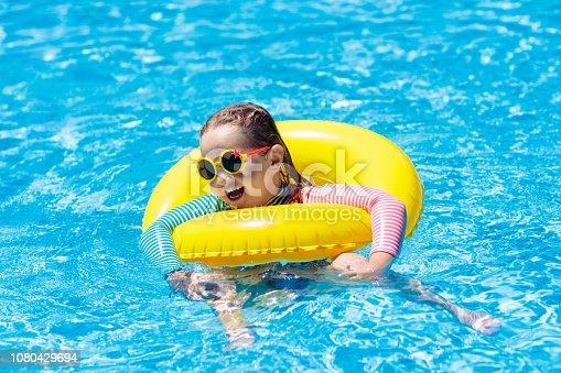 1080429798istockphoto Child in swimming pool. Kids swim. Water play. 1080429694