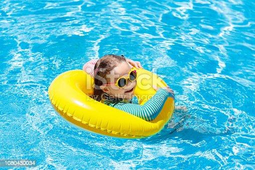 1080429798istockphoto Child in swimming pool. Kids swim. Water play. 1080430034