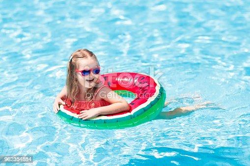 1080429798istockphoto Child in swimming pool. Kids swim. Water play. 962354884