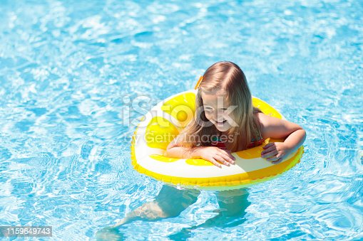 1159904048istockphoto Child in swimming pool on ring toy. Kids swim. 1159649743