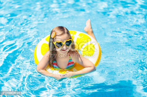 1159904048istockphoto Child in swimming pool on ring toy. Kids swim. 1159903242