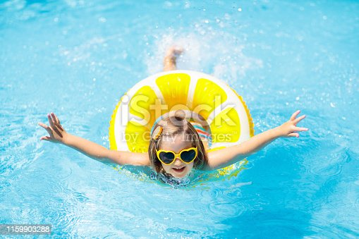 1159904048istockphoto Child in swimming pool on ring toy. Kids swim. 1159903288