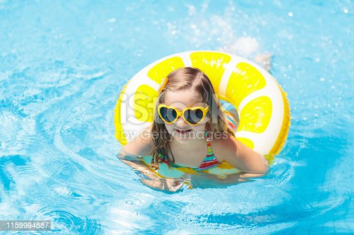 1159904048istockphoto Child in swimming pool on ring toy. Kids swim. 1159994887