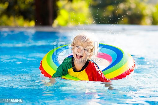 1159904048istockphoto Child in swimming pool on toy ring. Kids swim. 1154858548