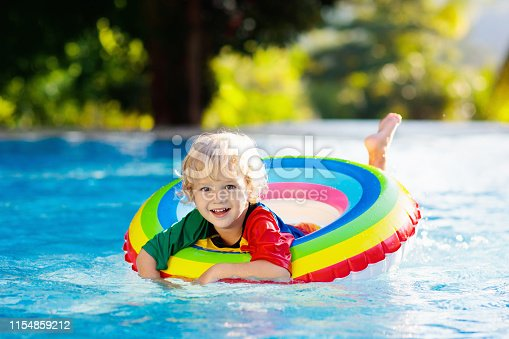 1159904048istockphoto Child in swimming pool on toy ring. Kids swim. 1154859212
