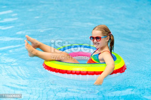 1159904048istockphoto Child in swimming pool on toy ring. Kids swim. 1159906337