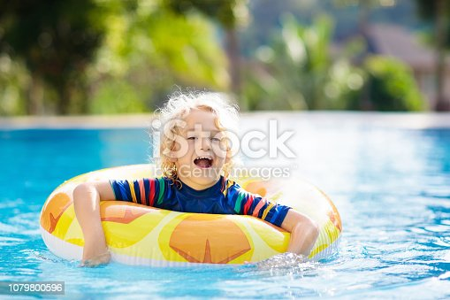 1080429798istockphoto Child in swimming pool. Summer vacation with kids. 1079800596