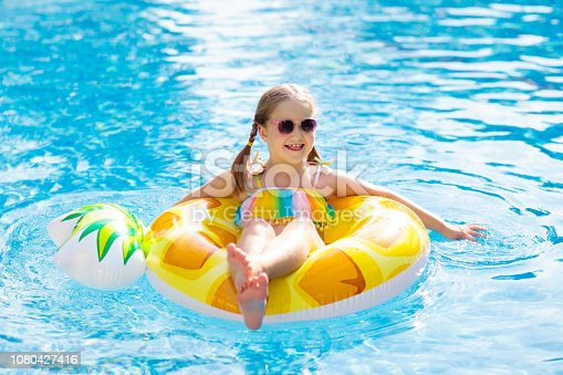 1080429798istockphoto Child in swimming pool. Summer vacation with kids. 1080427416