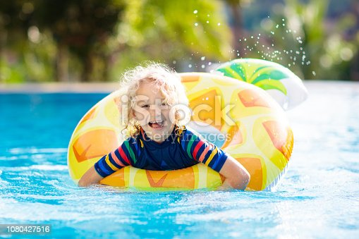 1080429798istockphoto Child in swimming pool. Summer vacation with kids. 1080427516